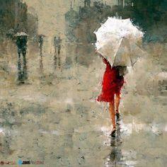 red in rain ...