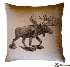 MOOSE in Snow Shoes Tan Eco Throw Pillow Cover 20x20 by ZenThreads