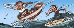 A ponte entre Galiza e Escocia // The bridge between Galiza and Scotland : Galician humour by Davila #Fishing and #Surfing