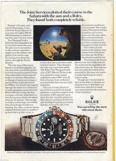 Rolex Watches Collection : 1974 Rolex GMT Master Watch Vintage Print Page Ad Photo Joint Services Sahara. - Watches Topia - Watches: Best Lists, Trends & the Latest Styles Simple Watches, Watches For Men, Vintage Rolex, Vintage Watches, Luxury Watches, Rolex Watches, Fancy Clock, Mens Fashion Suits, Mens Suits