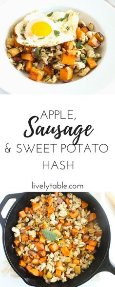 A simple, gluten-free breakfast hash made with delicious fall flavors and healthy chicken sausage that's a perfect brunch, weeknight dinner, or weekend breakfast! (gluten-free) | via livelytable.com