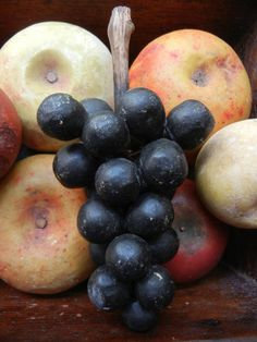 Your place to find antiques primitives vintage country goods folk art americana and more. Colonial Home Decor, Colonial Decorating, Fruit Love, Black Grapes, Beautiful Fruits, Stone Fruit, Old Stone, Salt Dough, Fruits And Vegetables