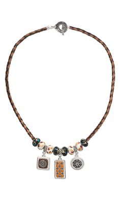 Single-Strand Necklace with Dione™ Large-Hole Beads, ''Pewter'' Drops and Leather Bola Cord
