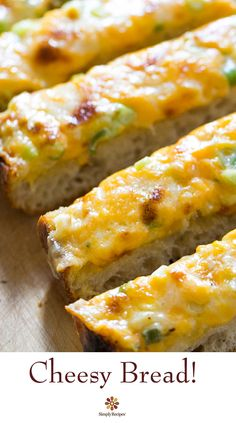 Cheesy Bread ~ A cross between garlic bread and pizza, cheesy bread is a quick, easy, and delicious party snack. Great for a #MemorialDay gathering! ~ SimplyRecipes.com