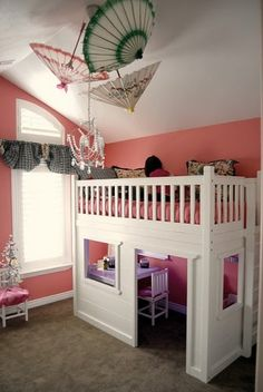 I love the idea of a loft bed with play area underneath. I would have loved this when I was little, my daughter will have it