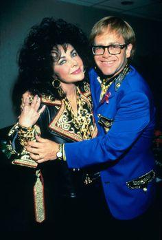 Elizabeth Taylor and Elton John backstage before Elton John performs at Shea Stadium on August 21, 1992 in New York City.