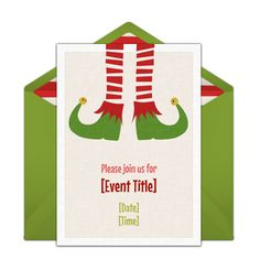 """A great free Christmas party invitation featuring a playful Elf design. We love this for inviting friends to a movie night to watch """"Elf,"""" a kids Christmas party, or festive gift swap."""