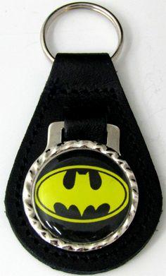 Batman Logo Black Genuine Leather Key Fob With Steel Ring FOB-0075