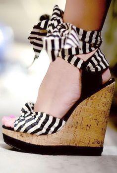 Stripe Ankle Tie Wedges //