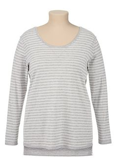Gray Striped High-Low plus size Tee (original price, $29) available at #Maurices