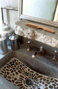Mosaic pebble stone bathroom sink & rough stone built in shelf - shower floor? Stone Bathroom Sink, Stone Sink, Pebble Stone, Kitchen Sink, Pebble Tiles, Bathroom Marble, Concrete Bathroom, Mirror Bathroom, Kitchen Backsplash