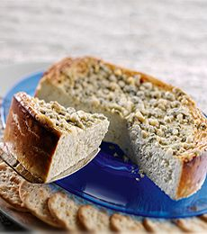 Oregon Blue Cheesecake appetizer. Serve as a spread on sliced baguettes.  I guarantee, if you like blue cheese, you, and everyone who tries it, will LOVE this! I've made it for many potlucks and I always get lots of requests for the recipe.