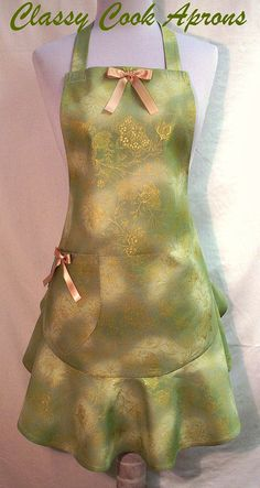 Apron Gold Florals on Sage Green