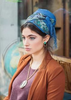 blue fringe turban