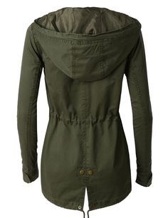 LE3NO Womens Anorak Camo Jacket with Hood and Drawstring Waist | LE3NO
