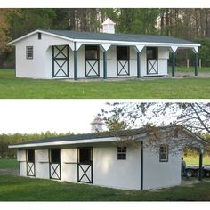 This 12x40 shedrow barn has 3 stalls, a tack/feed room and a 10' overhang.  The buyer upgraded the stall windows to 3 additional Dutch doors on the back.  This maximizes light and fresh air for the horses and saves steps when turning out.  Smart!