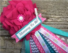 pink and teal mommy to be corsage baby shower by