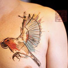 Tattootemple / #tattoos #Wang #waterbrush #art #HongKong #bird #painting #tattooart #temple #tattootemple #tattooing #ink #inkedmag #tattoophoto
