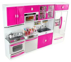 PowerTRC® My Modern Kitchen 32 Full Deluxe Kit Battery Operated Toy Doll Kitchen Playset w/ Lights, Sounds, Perfect for Use with Tall Dolls