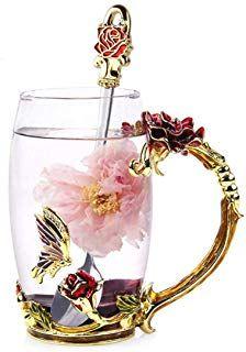 Handmade Crystal Enamel Flower Glass Tea Cup Coffee Mugs W// Gift Box Home