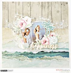 Gorgeous Mini Templates - 'Happiness' layout by Kylie Kingham Design Team member for Kaisercraft Official Blog featuring their 'Island Escape' collection and Bubbly mini template (Feb 2017). Saved from kaisercraft.com.au/blog - Wendy Schultz ~ Scrapbook Layouts.