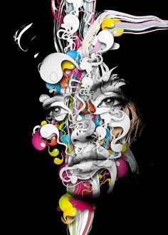 Nice digital illustrations by Alberto Seveso, a graphic designer and illustrator from Italy Foto Effects, Drawing Simple, Graffiti, Human Art, Portraits, Artistic Photography, Face Art, Artist Art, Amazing Art