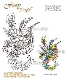 First Flight Fairy Tangles Digi Stamp Zentangle Hummingbird DIGI Stamps by Norma J Burnell