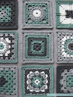 The blocked green #crochet squares