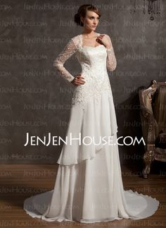 Wedding Dresses - $186.99 - A-Line/Princess Sweetheart Chapel Train Chiffon Satin Tulle Wedding Dress With Lace (002014901) http://jenjenhouse.com/A-Line-Princess-Sweetheart-Chapel-Train-Chiffon-Satin-Tulle-Wedding-Dress-With-Lace-002014901-g14901