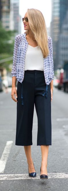 navy pleated culottes, silk jacket, ivory silk tank + navy jimmy choo alia pumps | @clubmonaco