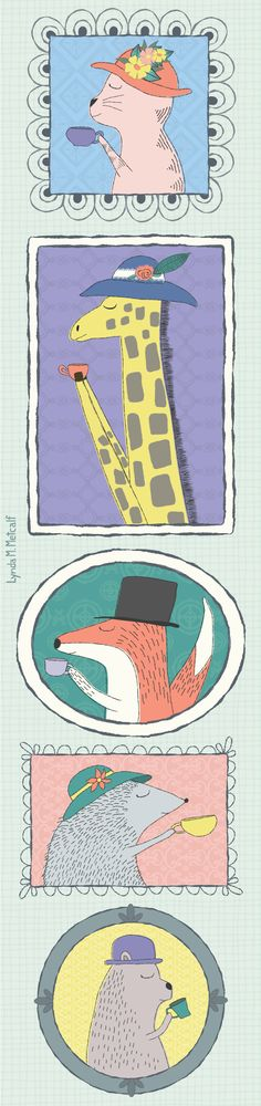 Animals in Hats Sipping Tea