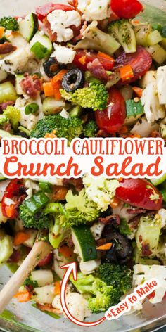 menus This Easy Broccoli Cauliflower Crunch Salad is loaded with all of your favorite vegetables. It is simple to make, but packed with flavor. The perfect side dish for a summer barbecue and a Healthy Salad Recipes, Vegetarian Recipes, Cooking Recipes, Side Salad Recipes, Green Salad Recipes, Vegetarian Appetizers, Kitchen Recipes, Vegetable Side Dishes, Vegetable Recipes