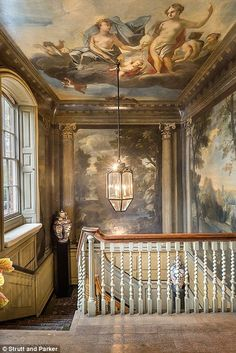 Inside Michael Bloomberg S New 25 Million London Mansion - Ceiling Decorations Ceiling Painting, Ceiling Murals, Wall Mural, Wall Art, London Mansion, London House, Home Interior, Interior Architecture, Interior And Exterior