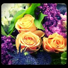 Thistle, roses, lilacs, bells of Ireland