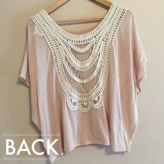 SALE Baby Pink Crochet Back Top I love this top so much. It is used and it has a very thin fabric so there are a couple tags in it! Also it's very sheer so you'd have to wear something underneath! Kirra Tops