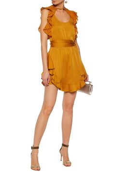 Ruffled corded lace-paneled satin-crepe mini dress   MARISSA WEBB   Sale up to 70% off   THE OUTNET
