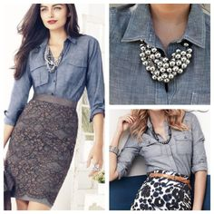 Chambray shirt for work? Yes, you can! Pair with a bold skirt or statement neck piece to avoid looking like weekend wear.