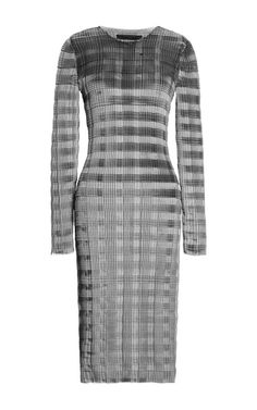 Long Sleeve Pleated Knee Length Dress With Raw Edge by Alexander Wang for Preorder on Moda Operandi