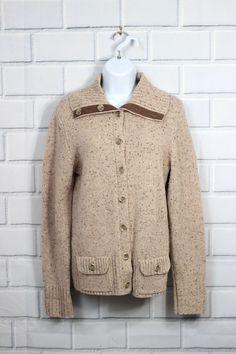 Eddie Bauer Women's Tan Wool Cardigan Sweater Elbow Patches Front Pockets Size M #EddieBauer #Cardigan
