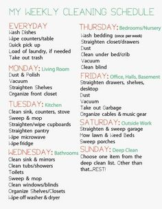 Easy Cleaning schedule for working moms Weekly Cleaning schedule for working moms