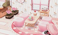 "manndycandy: ""Café kawaii  #candytown #animalcrossinghappyhomedesigner #kawaii #pink #coffe """