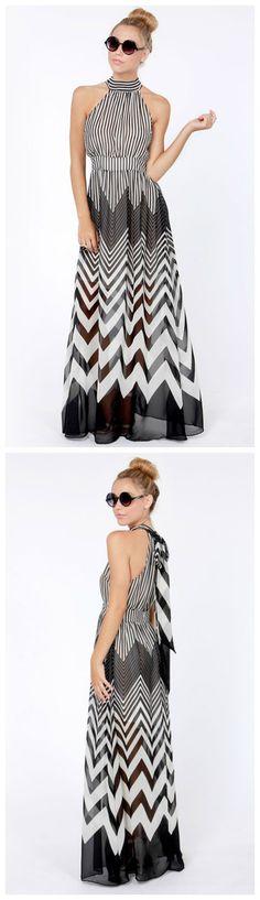 Blurred Lines Black and Ivory Striped Maxi Dress via lulus.com