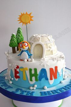 Celebrate with Cake! Pretty Cakes, Cute Cakes, Igloo Cake, Fondant Cake Designs, Frozen Theme Cake, Penguin Cakes, Birthday Ideas, Birthday Cake, Pinata Cake