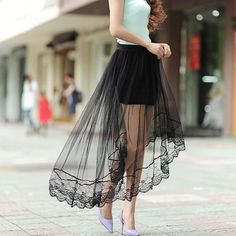 Cheap lace skirt women, Buy Quality lace skirt directly from China white short skirt Suppliers: 2016 New Summer Women Sexy Lace Skirts Womens Fashion Long Section Skirt Jupe Tulle Black and White Short Skirt Long Maxi Skirts, Short Skirts, Tulle Skirts, Chiffon Dresses, Summer Skirts, Dress Summer, Black Women Fashion, Womens Fashion, Sexy Women
