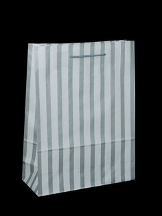 White Carrier Bag Rope Handle - Stripes Silver