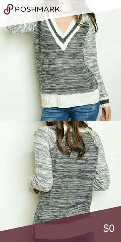 Coming Soon V-neck Pullover Sweater V-neck pullover sweater. 100% Acrylic. L: 32 in, B: 40 in, W: 38 in. Sweaters V-Necks
