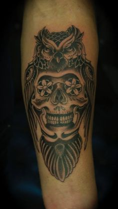 Day of the Dead tattoo skull with owl. #owlandskull