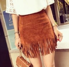 2015 New Women Suede Fringed Leather Skirt Fashion Package Hip High Waist Skirts Female Plus Size Saia Feminina Suede Fringe Skirt, Tassel Skirt, Leather Skirt, Skirt Outfits, Cute Outfits, Cowgirl Outfits For Women Dresses, Boho Fashion, Fashion Looks, Fashion 2015