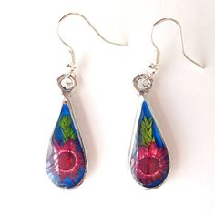 Zee Bee Market LLC - Red Flower Drop Silver Earrings