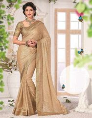 Light Gold Color Shimmer Brasso Function & Party Wear Sarees : Samridhi Collection YF-31603
